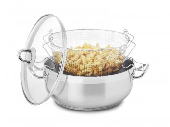 Chip pan with basket